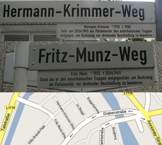 Fritz-Munz-Weg und Hermann-Krimmer-Weg