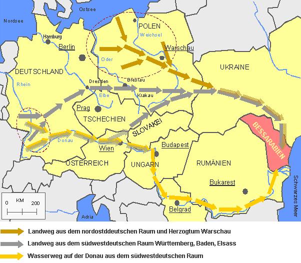 Auswanderungswege aus dem deutschen Raum nach Bessarabien 1840-1842 mit aktuellen Grenzen